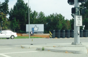 Facebook entrance like sign
